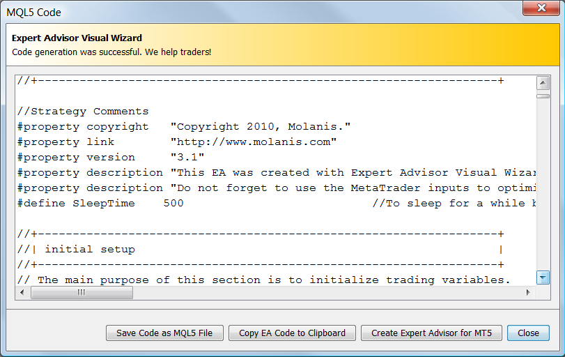 mql5 code for MetaTrader